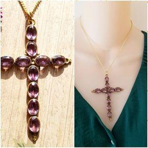 Antique Amethyst Cross necklace purple gold tone